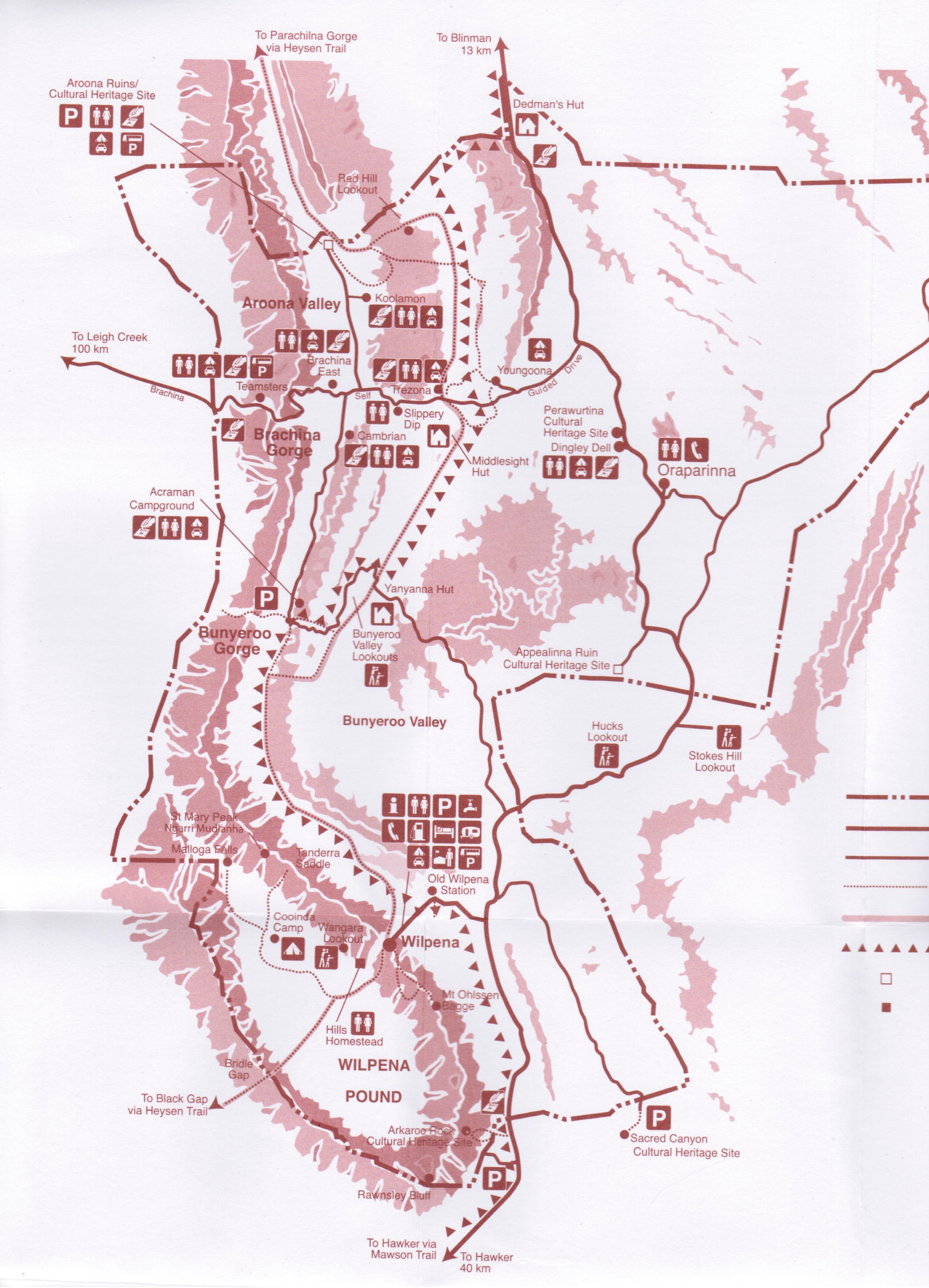 Australia Map Outback.Flinders Ranges National Park General Information Maps The