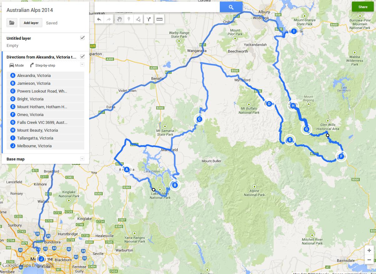 Road Map Victoria Australia.Australia Day 2014 Melbourne Great Alpine Road Bogong High
